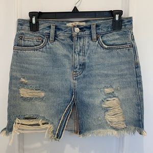 We The Free People Distressed Jean Skirt Size 24
